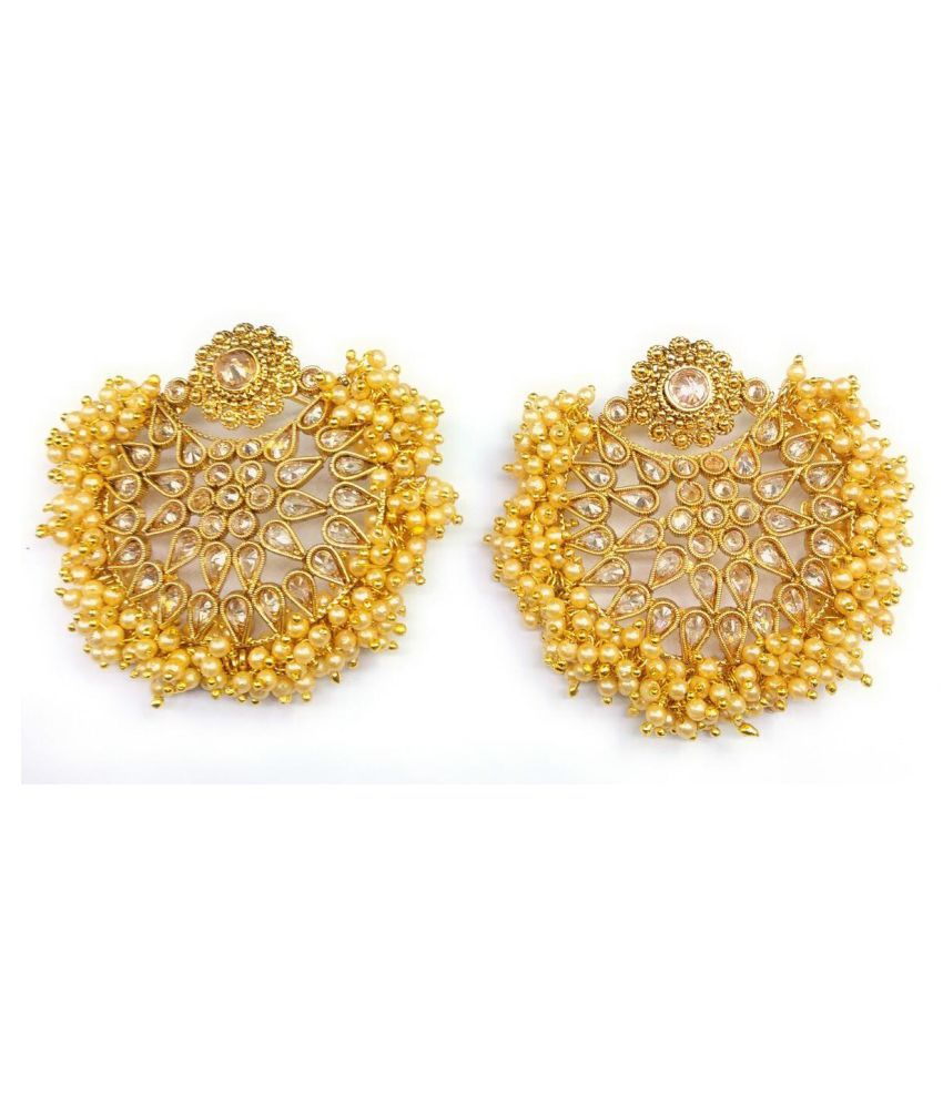 Jewels Gehna Gold Plated Ethnic Traditional Chandbali Latest Earring Set For Women & Girls