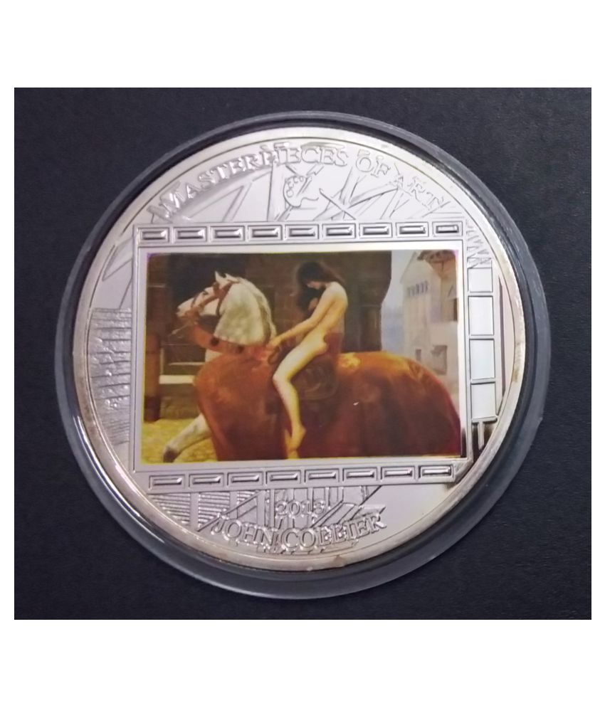 MASTERPIECES OF ART, BIG SIZE 55 MM, WEIGHT-93 GM. LADY GODIVA COOK ISLANDS 2013 SILVER PLATED COIN
