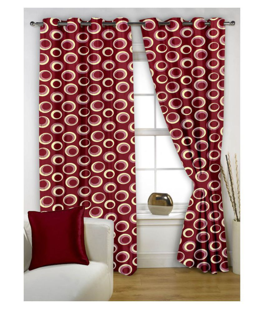 Story@Home Set of 2 Window Semi-Transparent Eyelet Polyester Curtains Maroon