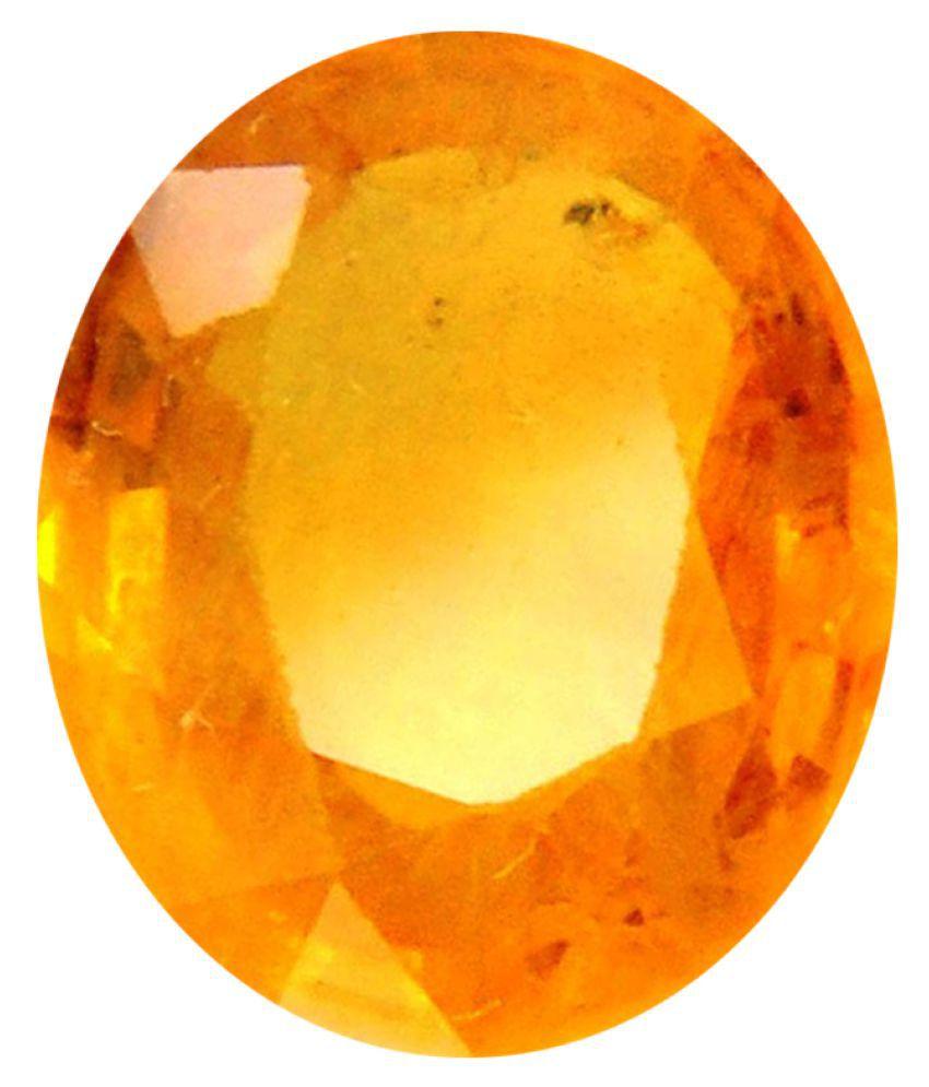Tejvij And Sons 4.25 -Ratti Self certified Yellow Sapphire Precious Gemstone