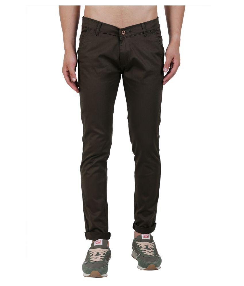 DOZZER Brown Slim -Fit Flat Chinos