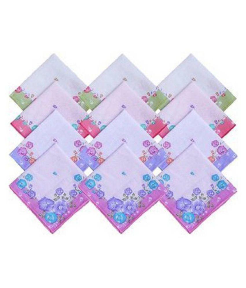 set of12 multicolor printed handkerchief