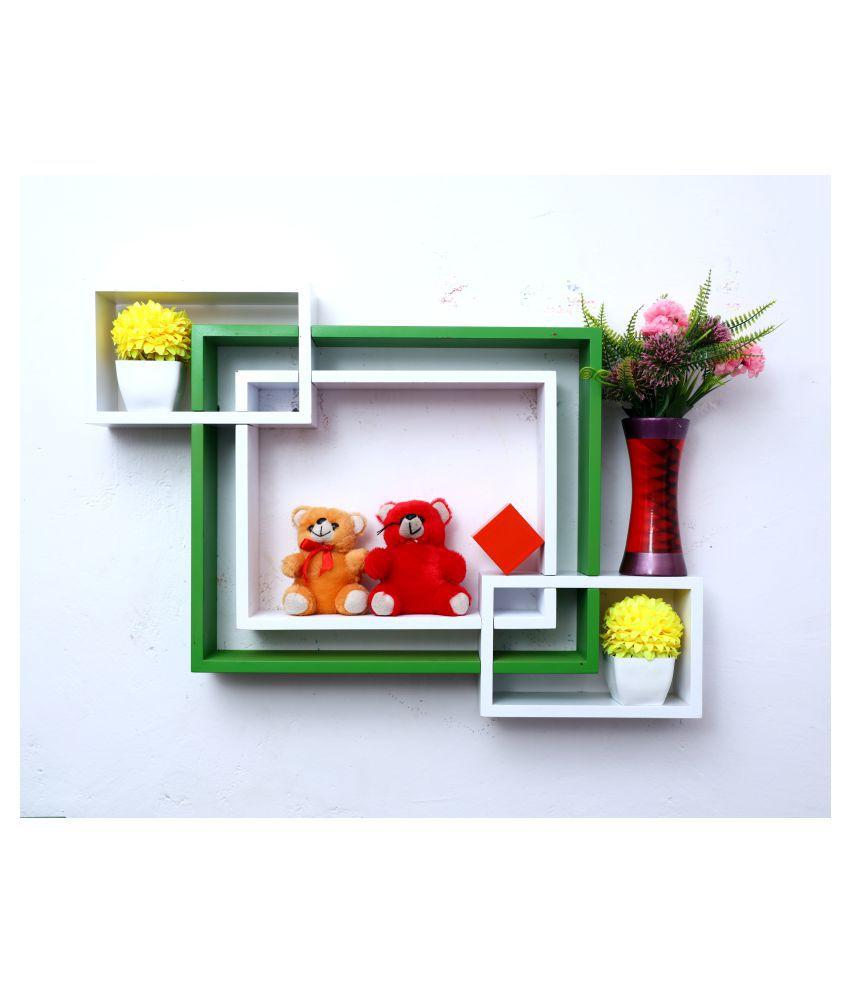 WOOD WORLD mdf wall mount shelf 4  Intersecting shape Wall Shelves Rack – white-green