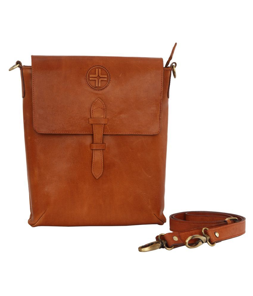JL Collections Tan Leather Casual Messenger Bag