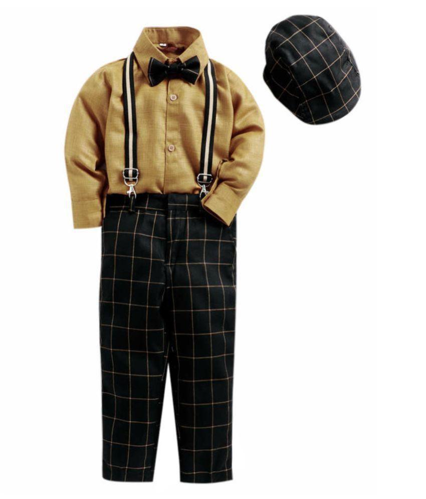 Jeetethnics Brown Silk Boys Suspender Suit Set