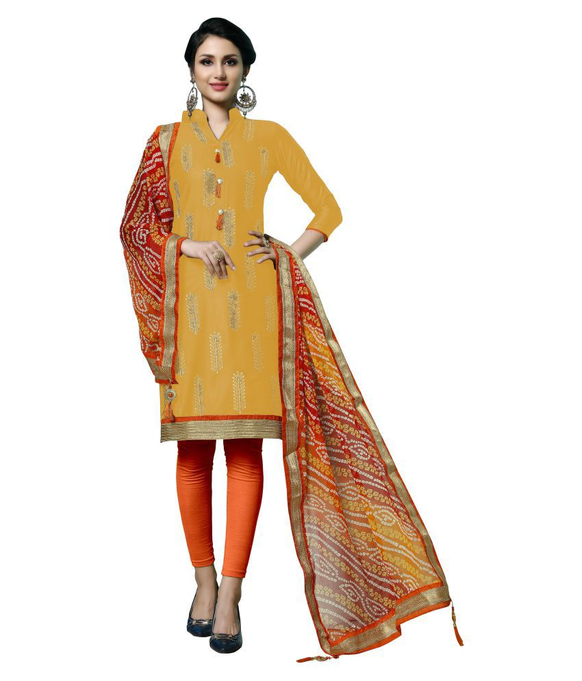 Maroosh Yellow Cotton A-line Semi-Stitched Suit