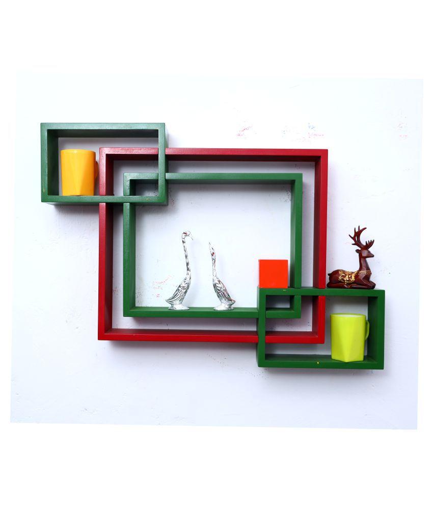 WOOD WORLD mdf wall mount shelf 4  Intersecting shape Wall Shelves Rack – red-green