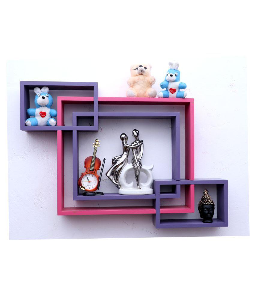 WOOD WORLD mdf wall mount shelf 4  Intersecting shape Wall Shelves Rack – purple-pink