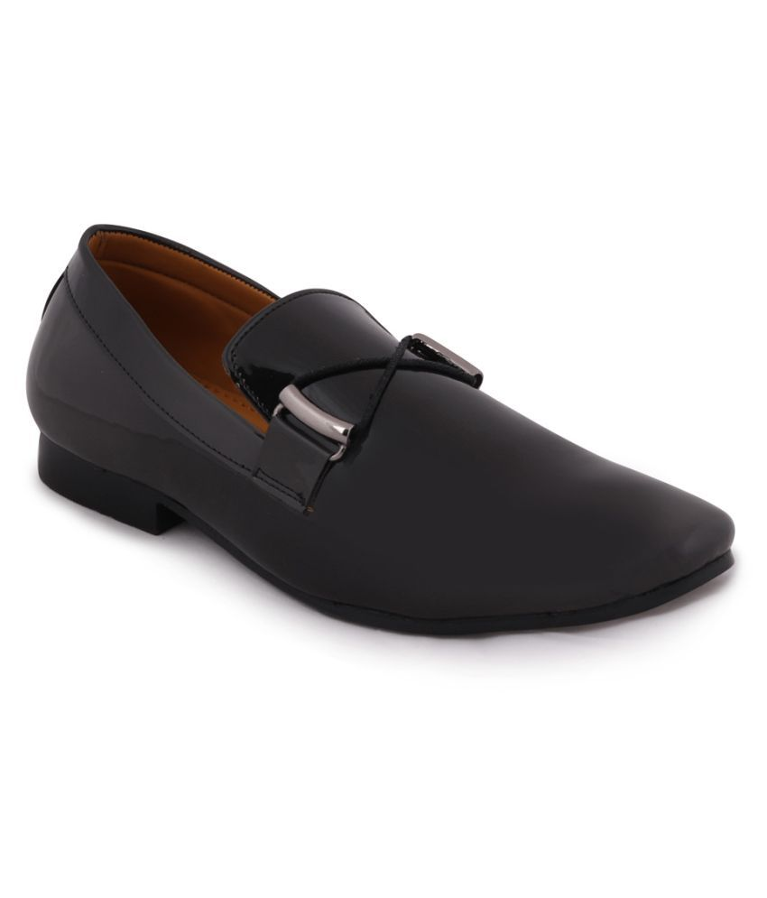 Fausto Office Artificial Leather Black Formal Shoes