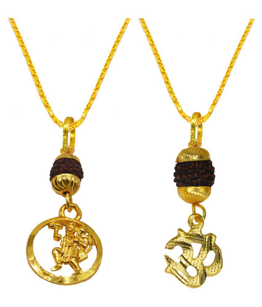 Religious Jewelry Beautiful  OM  Pendant  with  Chain  Gold-plated  Brass, Wood  Set of -2