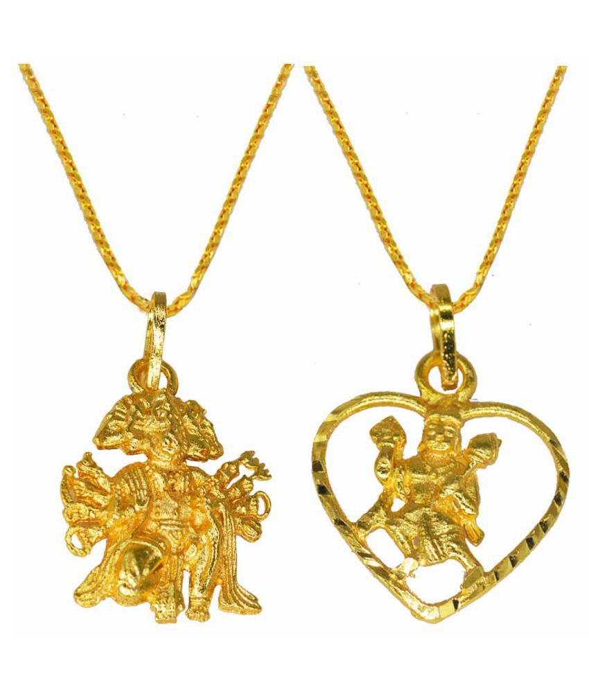 Religious Jewelry Beautiful  Pendant  With  Chain  Gold-plated  Brass, Wood  Set of -2