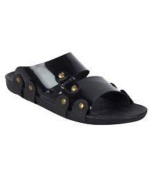 XYZREASONS Black Patent Leather Sandals