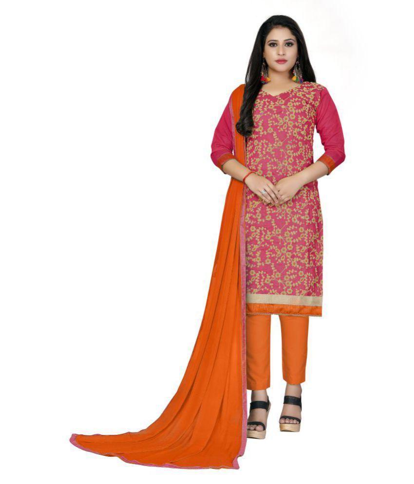 Maroosh Pink Cotton Straight Semi-Stitched Suit