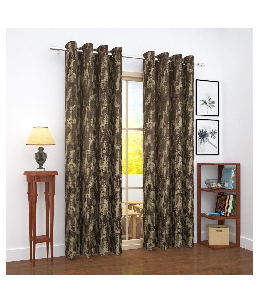 Story@Home Single Door Blackout Room Darkening Eyelet Jute Curtains Brown