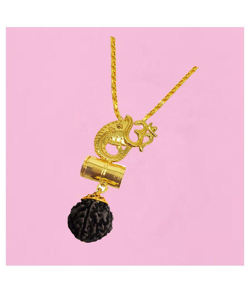 Men Style   Religious Jewelry Beautiful Great Hindu Om Damaru Locket  Panchmukhi Rudraksha Mala Gold-plated Brass, Wood Pendant Set