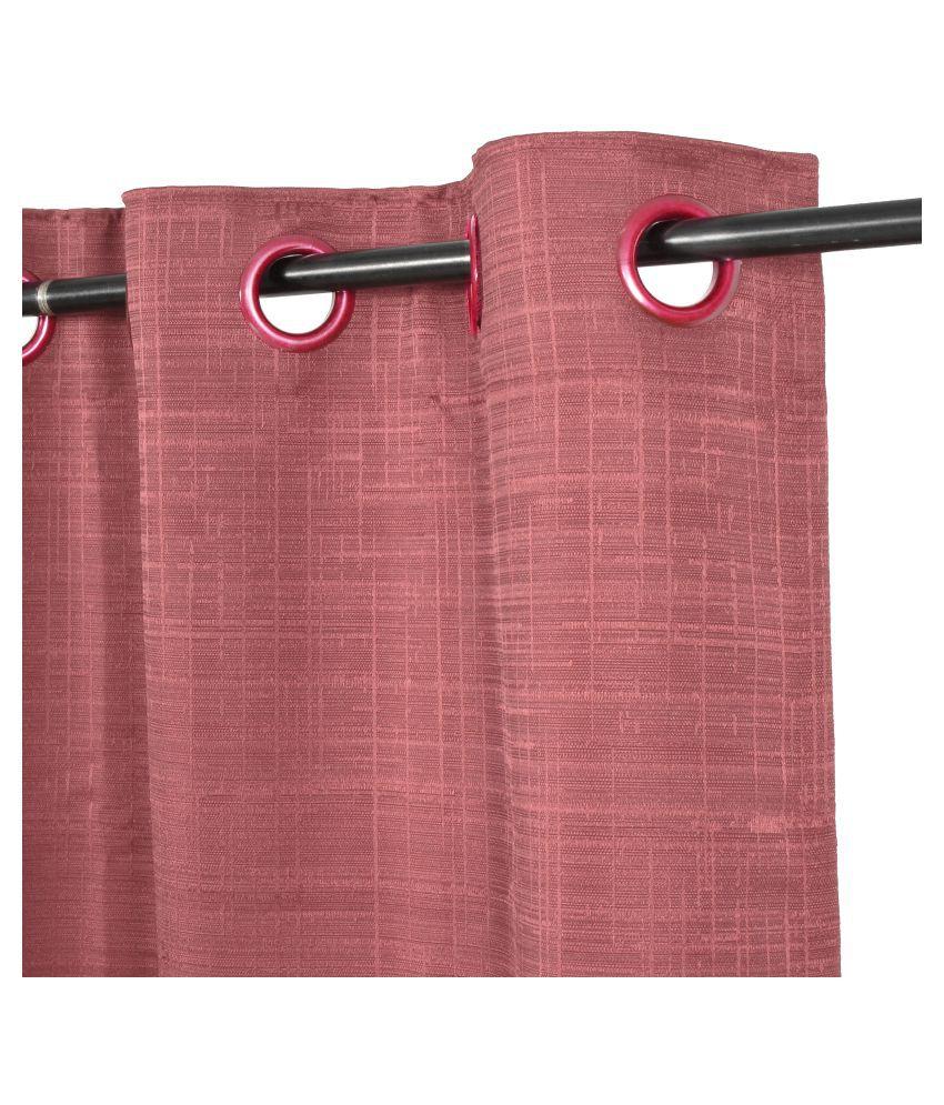 Story@Home Single Door Blackout Room Darkening Eyelet Jute Curtains Pink