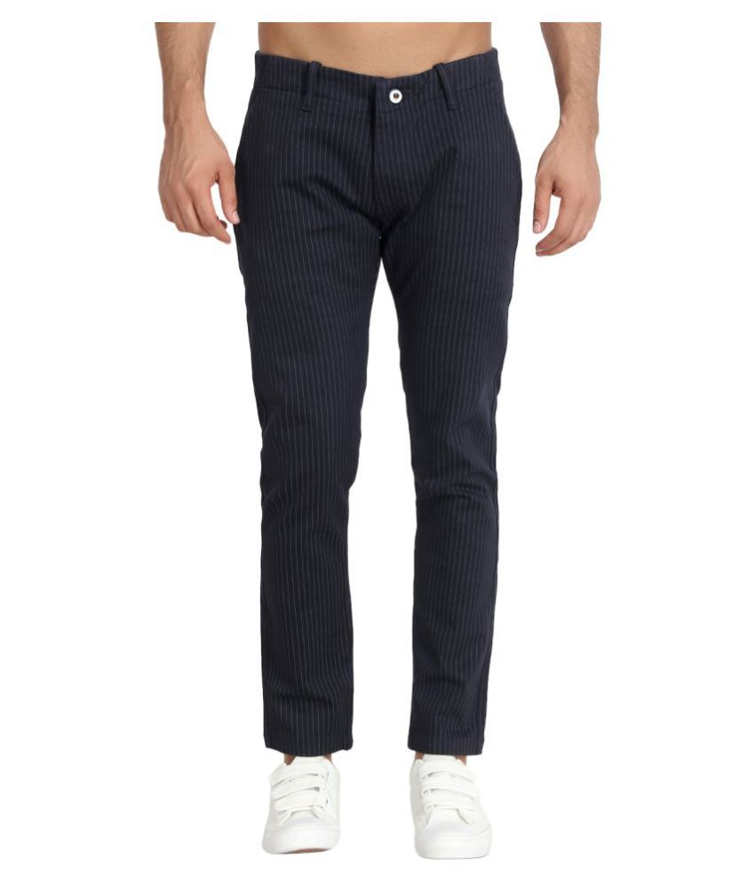 MIMP Navy Blue Slim -Fit Flat Chinos