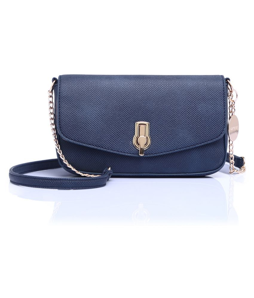 Caprese Blue Faux Leather Sling Bag