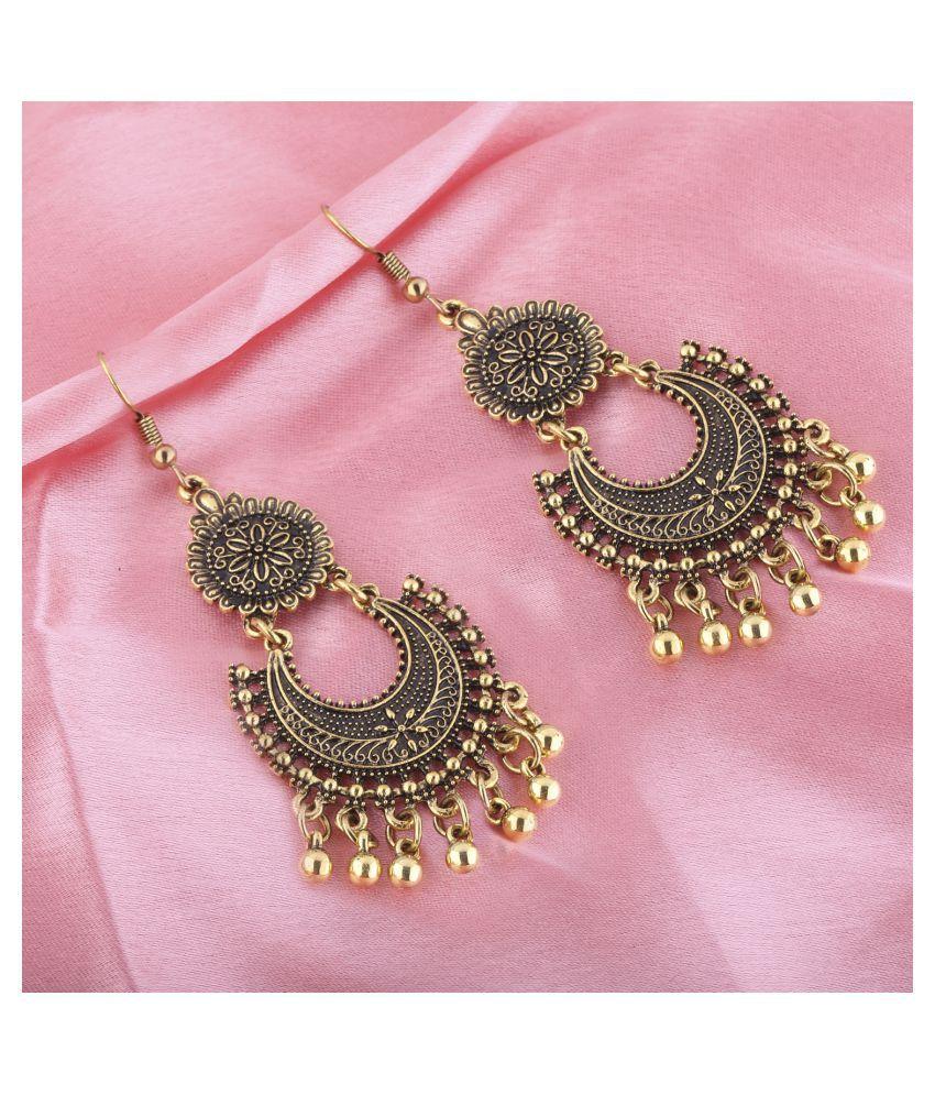 Silver Shine Appealing Golden Round with Chandbali Dangler Earrings for Women