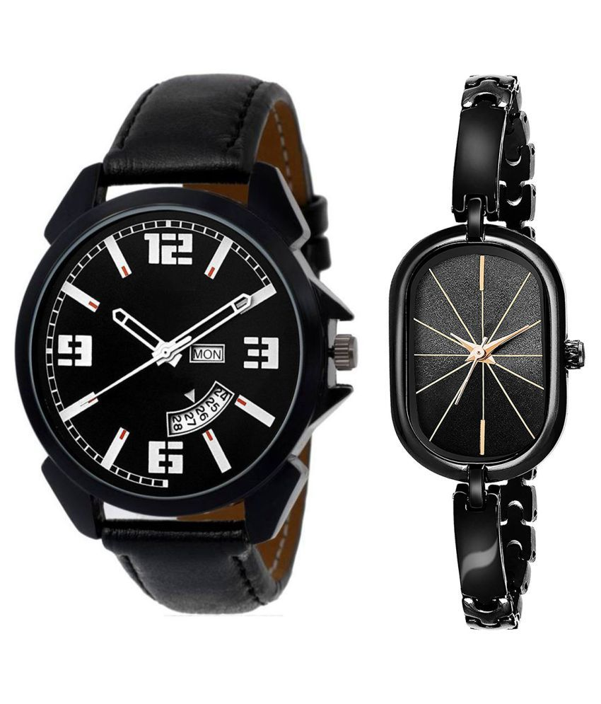 Selveen enteprise Black Dial Day & date Fancy Couple Watch For New Lovers DR007