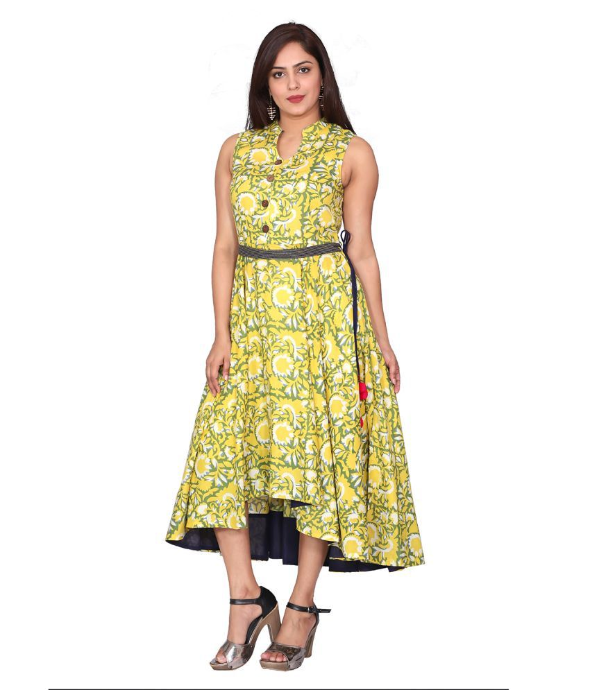 fabGlobal Rayon Yellow A- line Dress
