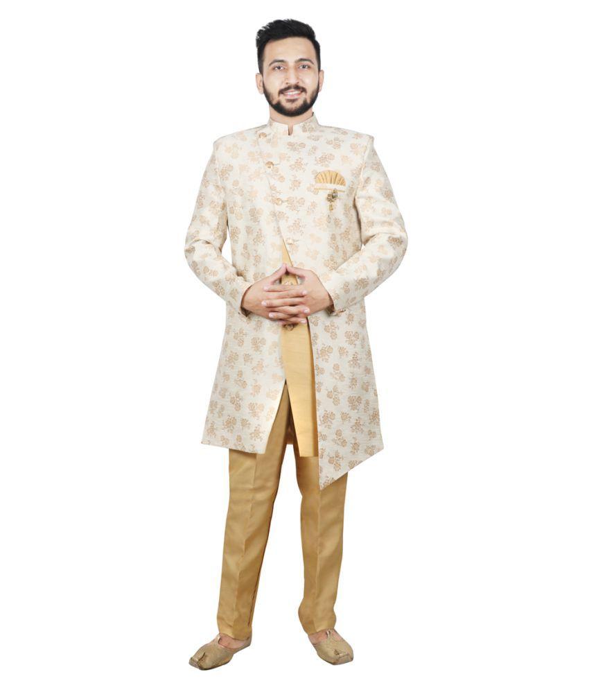 SG RAJASAHAB Beige Cotton Sherwani