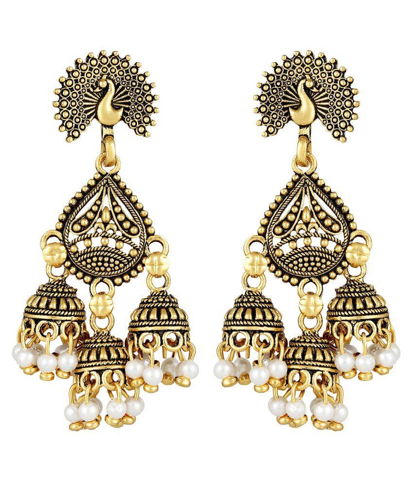 MFJ Fashion Traditional Matt Finish Peacock Brass Gold Plated Pearl Dangle Jhumki Earring For Women