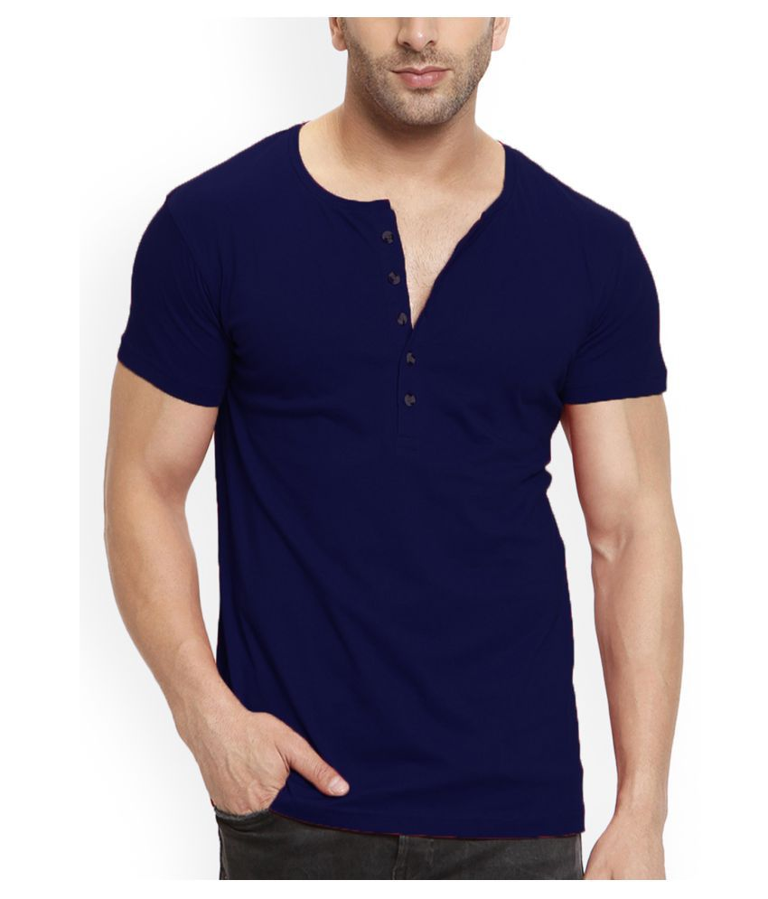 Leotude 100 Percent Cotton Navy Solids T-Shirt