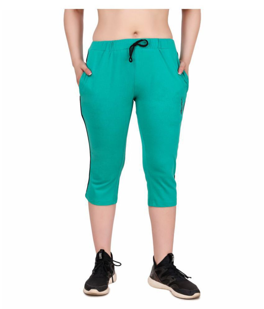 Dustin Turquoise Polyester Solid Capri