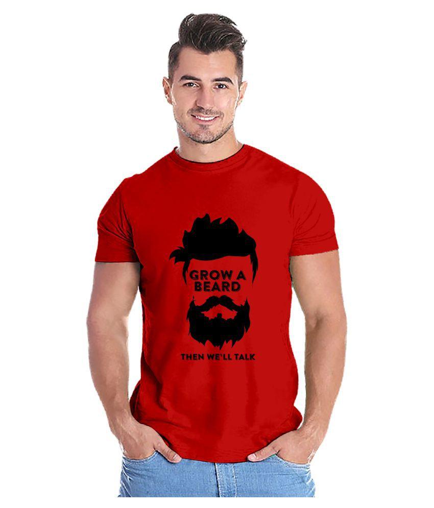 Capsula Tees 100 Percent Cotton Red Printed T-Shirt