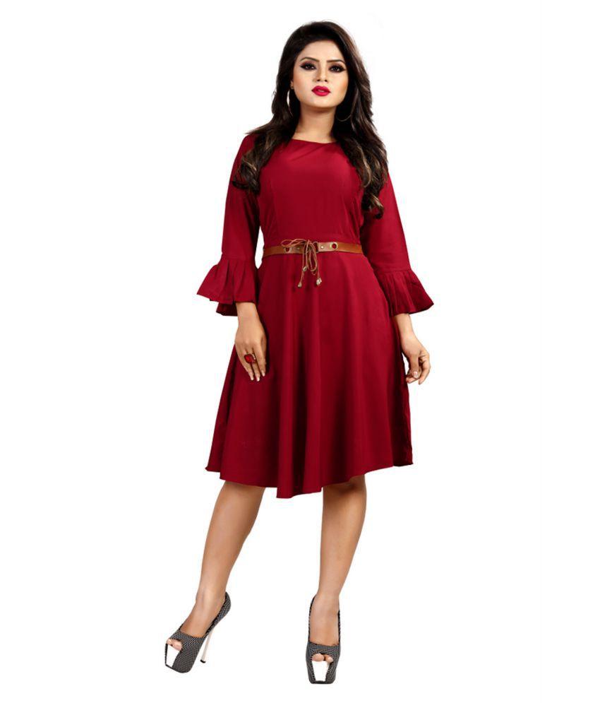 VISVA DESIGNER Rayon Maroon A- line Dress