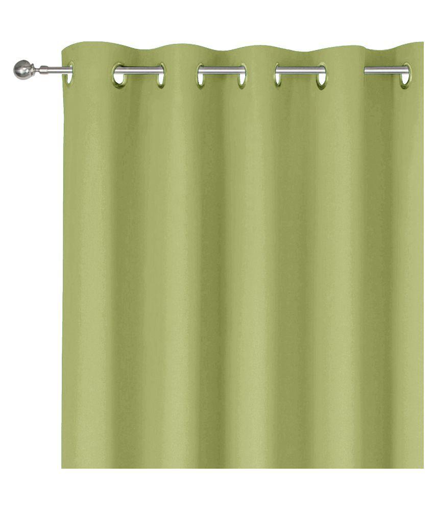 Story@Home Single Window Blackout Room Darkening Eyelet Silk Curtains Lime Green