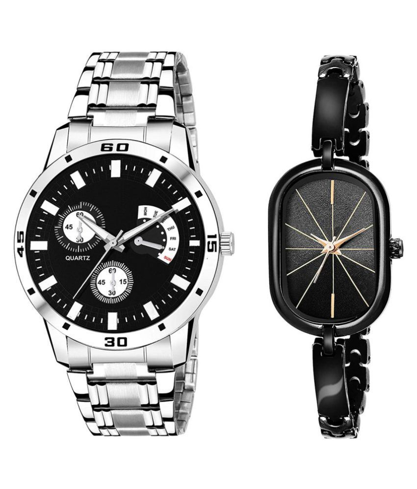 Selveen enteprise Black Dial Fancy Couple Watch For New Lovers DR077