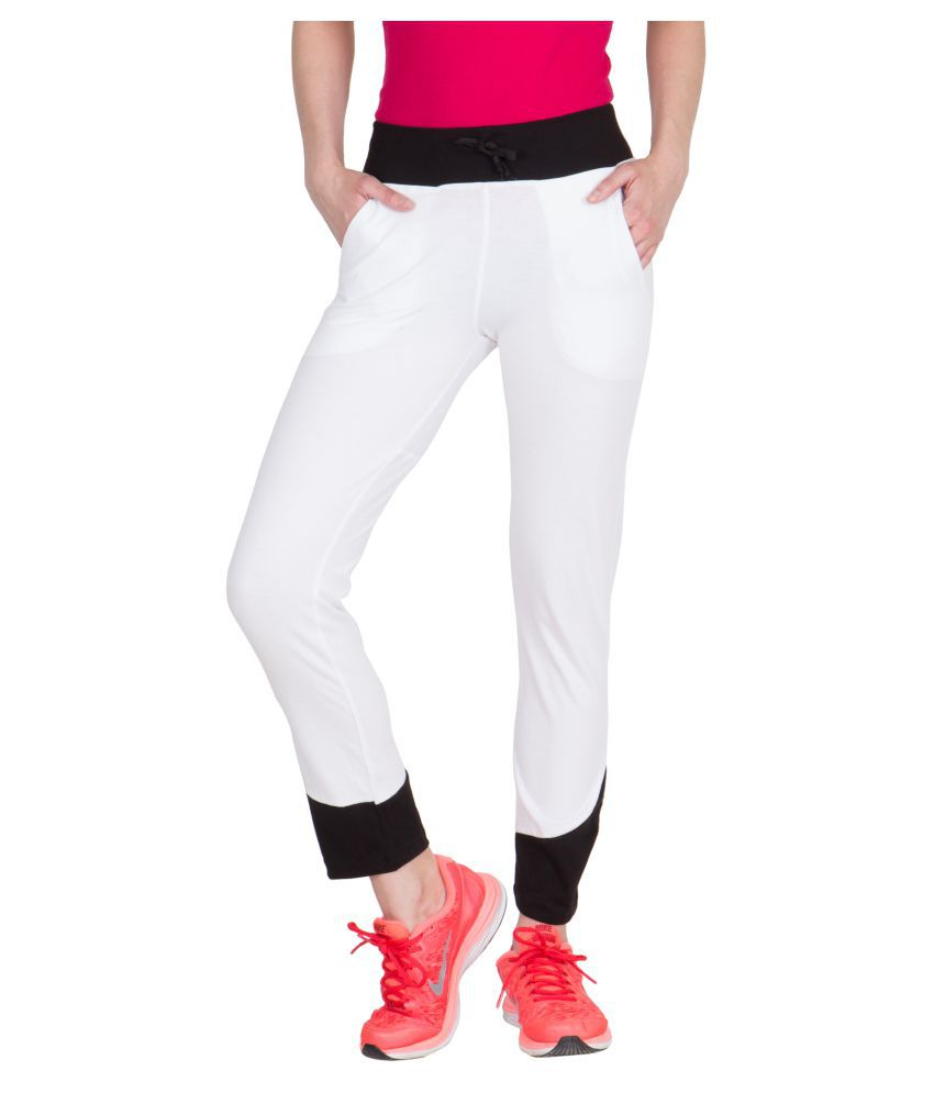 American-Elm White Cotton Lycra Solid Tights