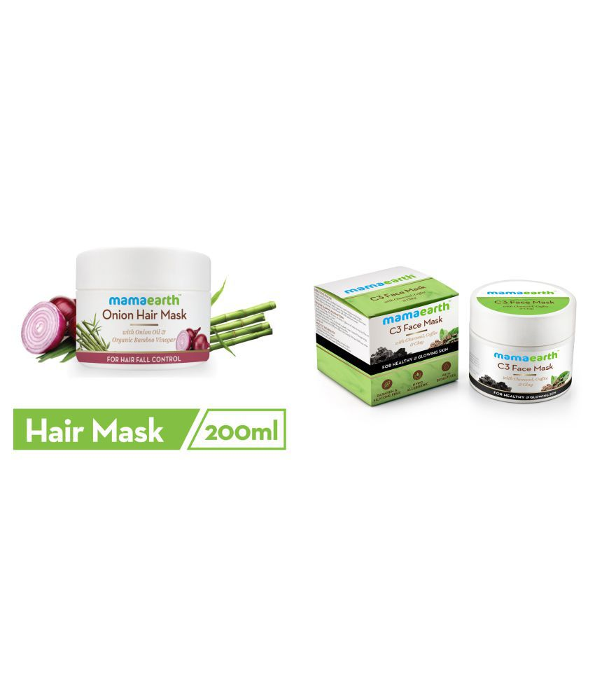 Mamaearth's Onion Hair Mask For Dry & Frizzy Hair, Controls Hairfall and Boosts Hair Growth, With Onion & Organic Bamboo Vinegar\n200ml and Charcoal, Coffee and Clay Face Mask, 100ml