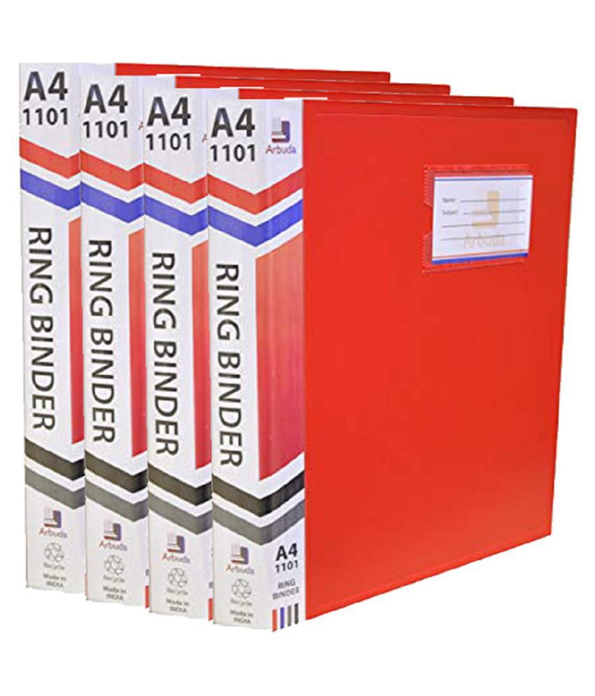 Arbuda Ring Binder File, 2D A4 Size Tough & Durable A4 Size Ring Binder Box Board File Ring Binder File Strong and Durable Extra Thick 2D Type Ring Clip File (Red) Pack of 4 Pcs.A4 Size