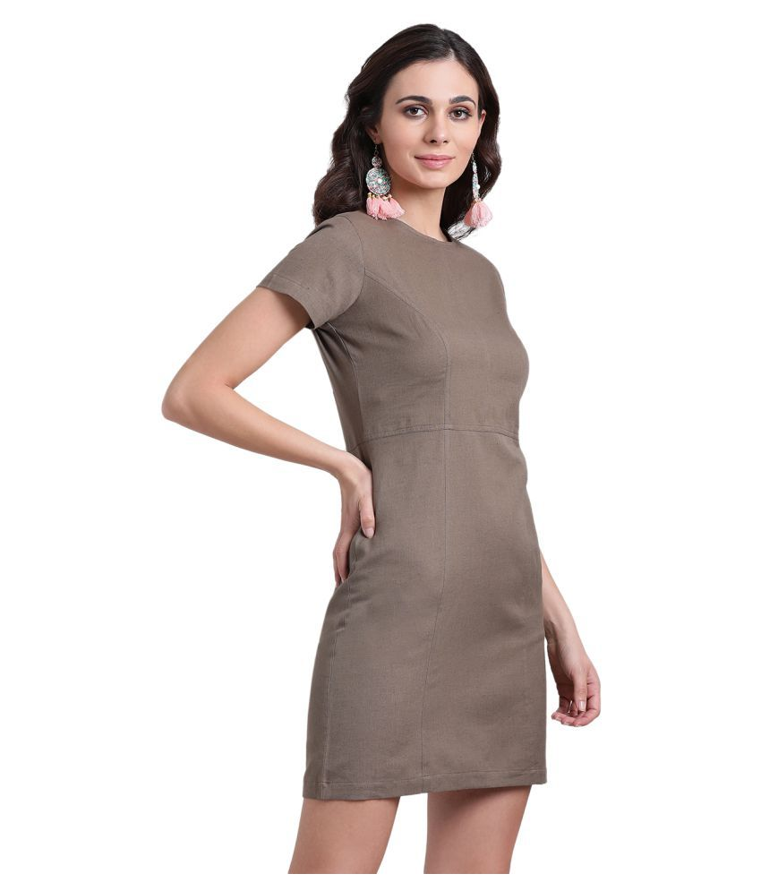 Aayna Cotton Brown Shift Dress