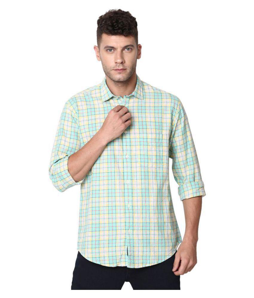 CAVALLO by Linen club Linen Turquoise Checks Shirt