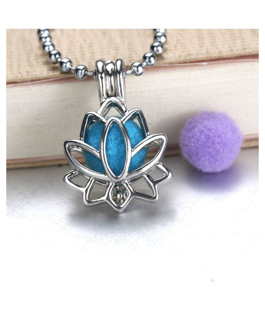 ZIVOM® Lotus Flower Aromatherapy Essential Oil Perfume Diffuser Openable Hollow Cage Pendant Necklace Chain for Women Girls