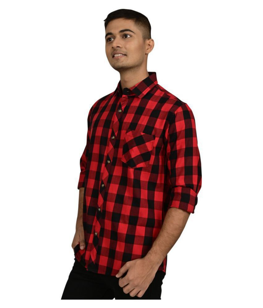 Freestone 100 Percent Cotton Red Checks Shirt