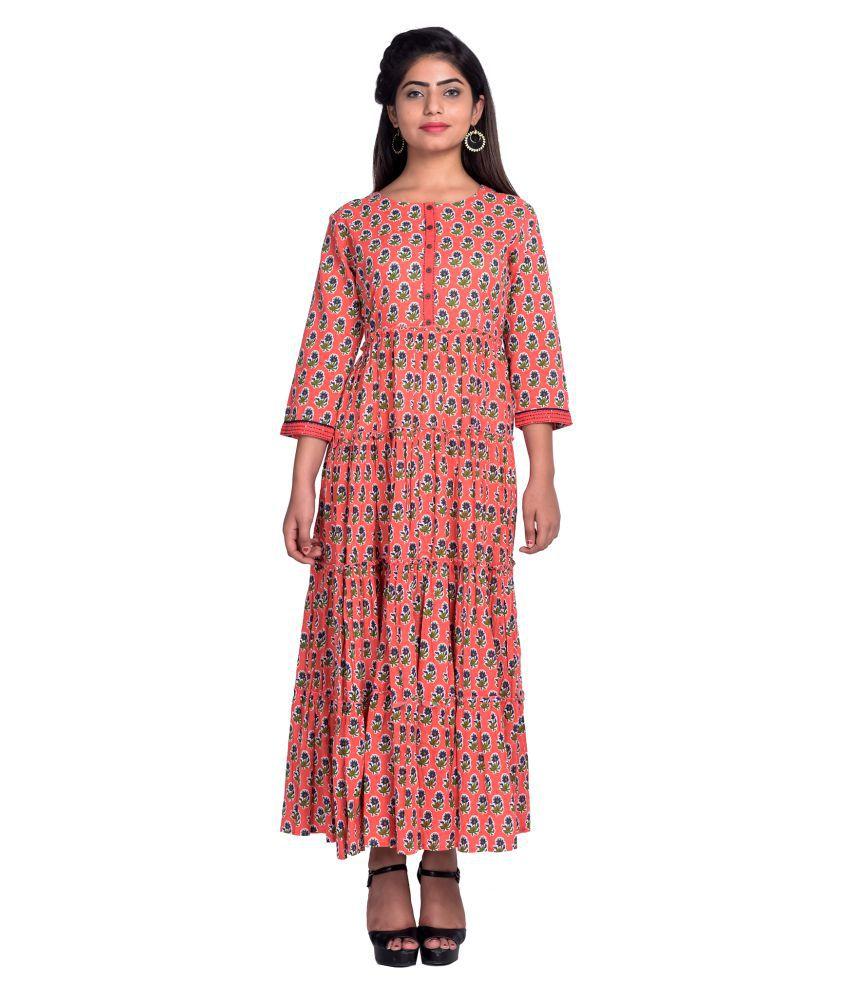 fabGlobal Cotton Orange A- line Dress