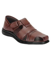 XYZREASONS Brown Synthetic Leather Sandals