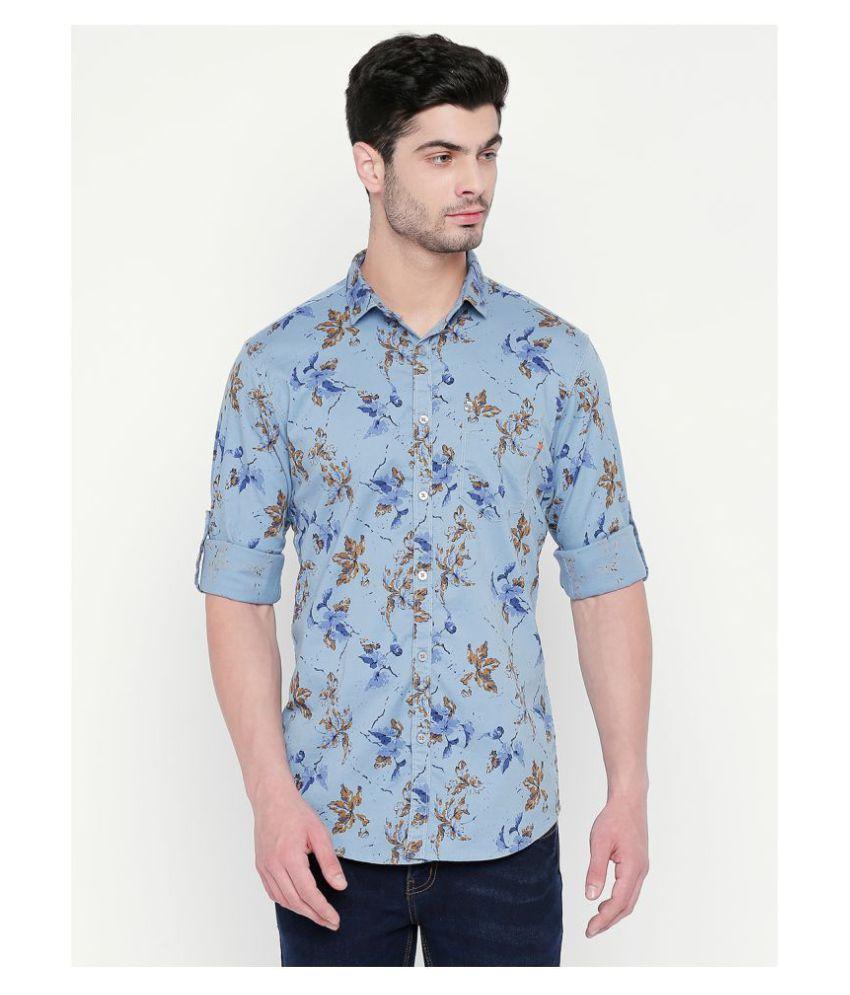 Goplay Cotton Blend Blue Prints Shirt