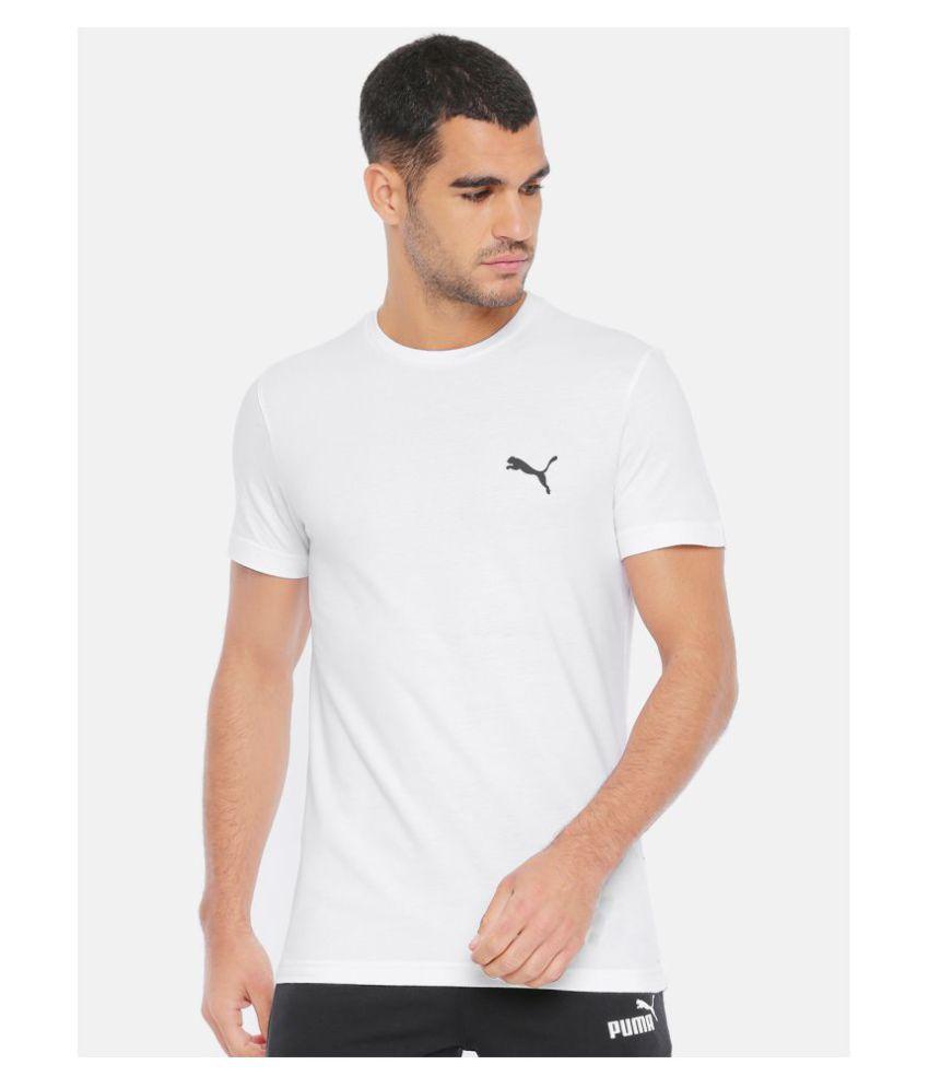Puma Polyester Lycra White Self Design T-Shirt