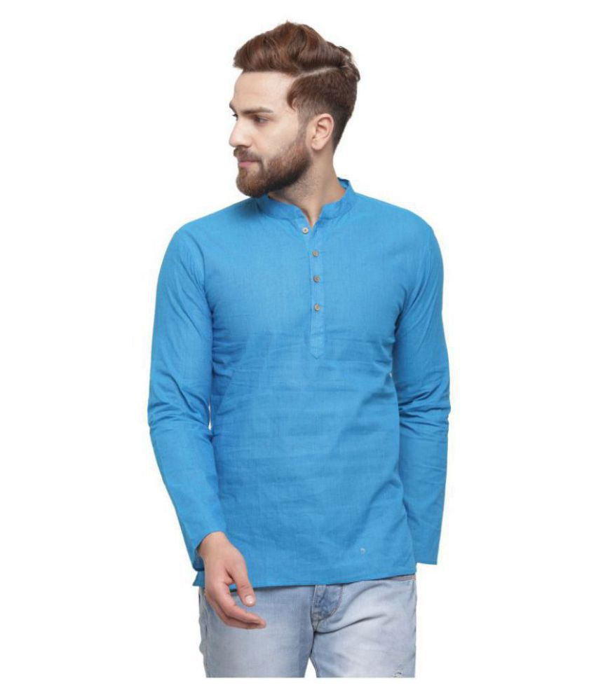 RG Designers Blue Cotton Kurta Single