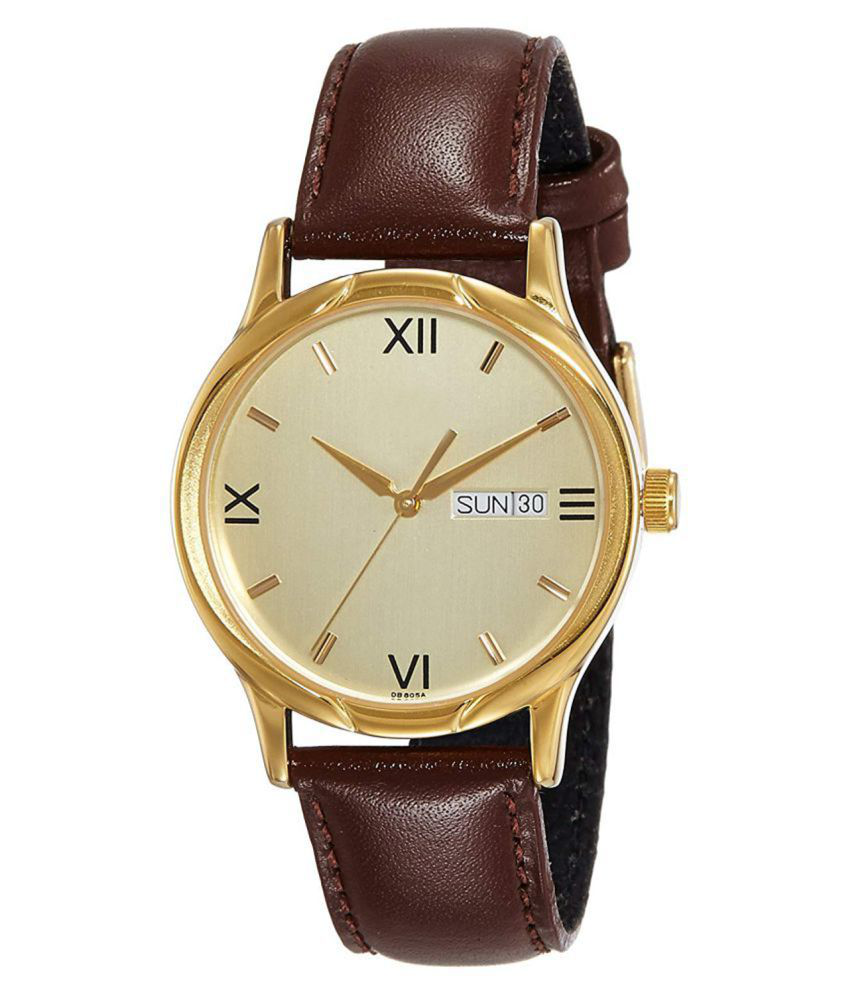 ALKHWATCHES Attractive Brown Lather Day & Date Functional Watch For Men STYLISH,CLASSIC
