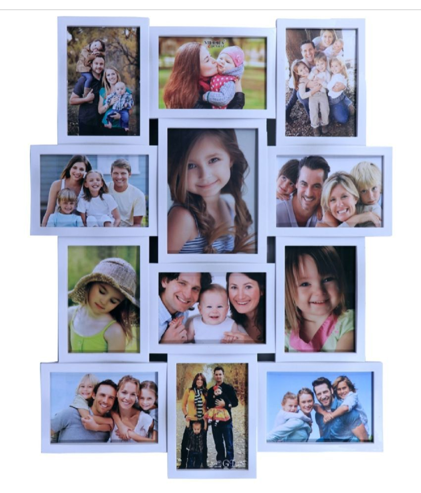 Meera Plastic Wall Hanging White Collage Photo Frame - Pack of 1