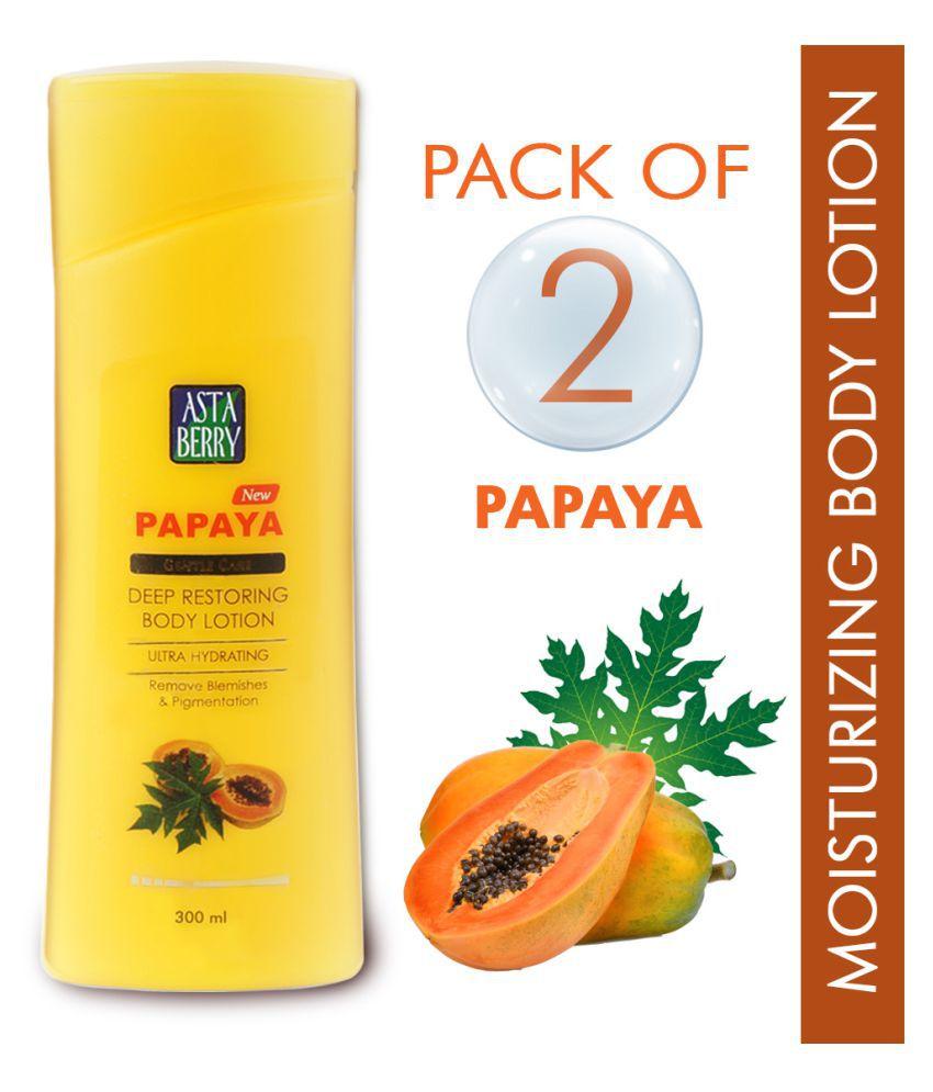 Astaberry Body Lotion Papaya - Hydrating & Nourishing Body Lotion ( 300 mL Pack of 2 )