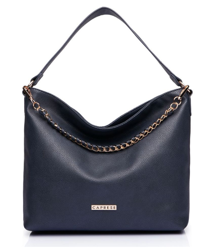 Caprese Blue Faux Leather Hobo Bag
