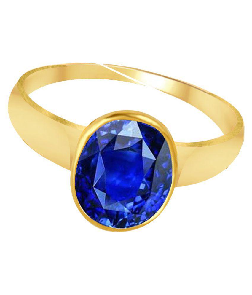 SRI VEDIC PRATISTHAN - 6.55 Ct. (7.25 Ratti) Blue Sapphire Neelam Gemstone stud in Adjustable Ashtdhatu Gold Polished Ring with Lab Tested Certificate for Men & Women
